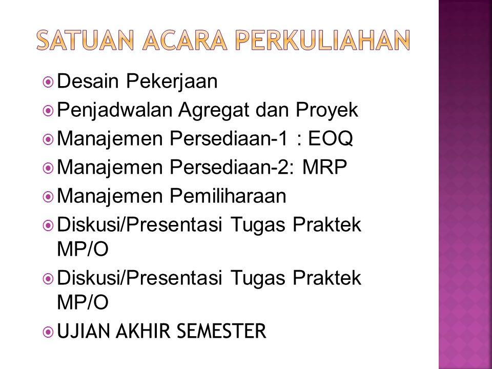  Desain Pekerjaan  Penjadwalan Agregat dan Proyek  Manajemen Persediaan-1 : EOQ  Manajemen Persediaan-2: MRP  Manajemen Pemiliharaan  Diskusi/Pr