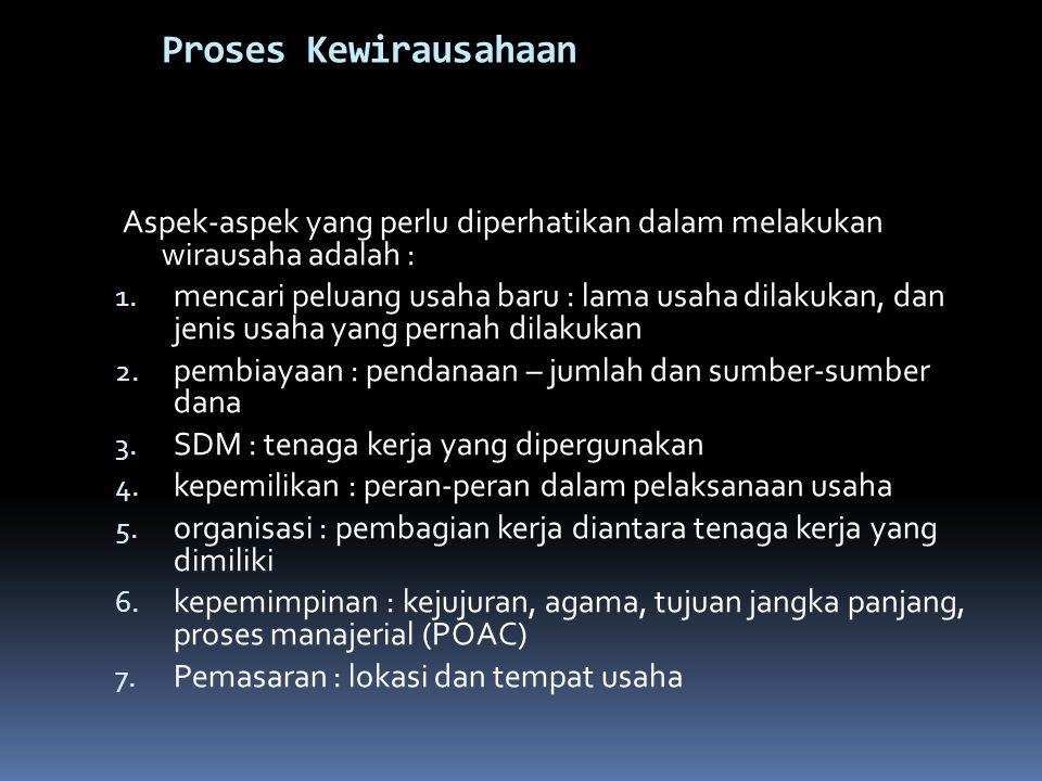 Proses Kewirausahaan Aspek-aspek yang perlu diperhatikan dalam melakukan wirausaha adalah : 1.