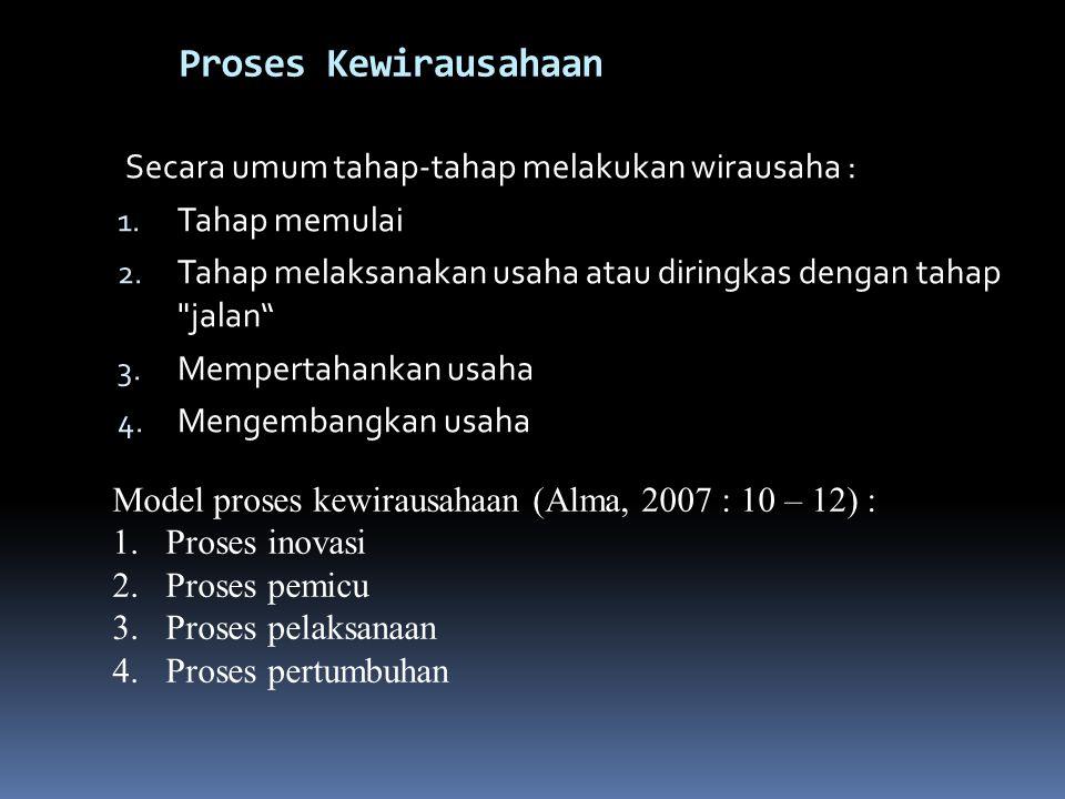 Proses Kewirausahaan Secara umum tahap-tahap melakukan wirausaha : 1.