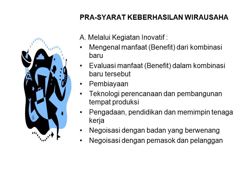 PRA-SYARAT KEBERHASILAN WIRAUSAHA A. Melalui Kegiatan Inovatif : Mengenal manfaat (Benefit) dari kombinasi baru Evaluasi manfaat (Benefit) dalam kombi