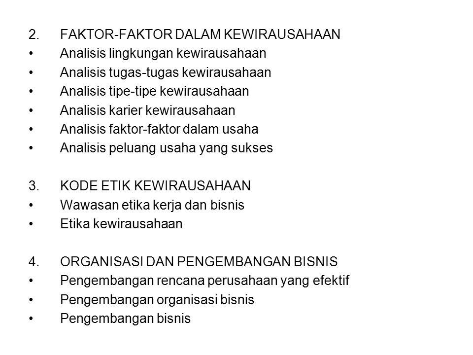 2.FAKTOR-FAKTOR DALAM KEWIRAUSAHAAN Analisis lingkungan kewirausahaan Analisis tugas-tugas kewirausahaan Analisis tipe-tipe kewirausahaan Analisis kar