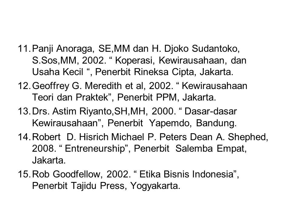 """11.Panji Anoraga, SE,MM dan H. Djoko Sudantoko, S.Sos,MM, 2002. """" Koperasi, Kewirausahaan, dan Usaha Kecil """", Penerbit Rineksa Cipta, Jakarta. 12.Geof"""