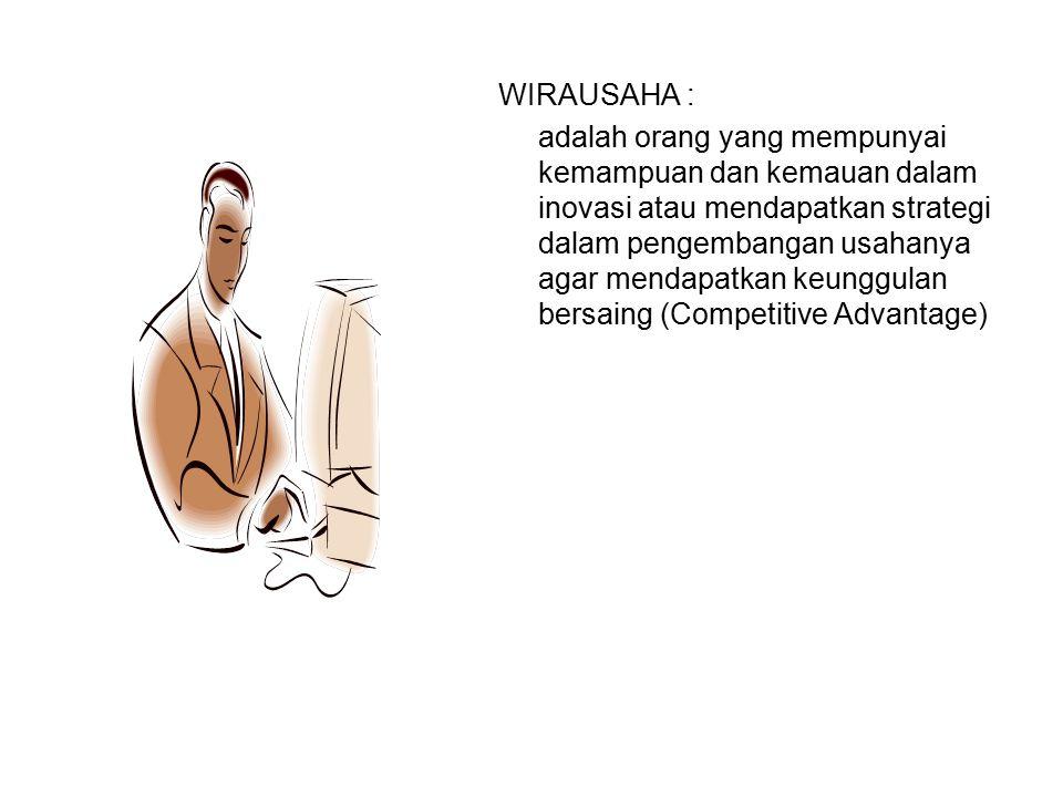 WIRAUSAHA : adalah orang yang mempunyai kemampuan dan kemauan dalam inovasi atau mendapatkan strategi dalam pengembangan usahanya agar mendapatkan keu