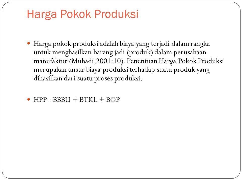 Harga Pokok Produksi Harga pokok produksi adalah biaya yang terjadi dalam rangka untuk menghasilkan barang jadi (produk) dalam perusahaan manufaktur (Muhadi,2001:10).