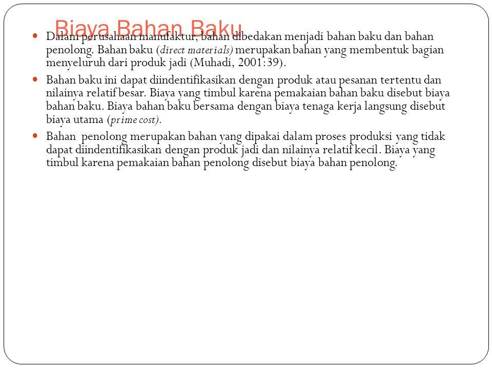 Biaya Bahan Baku Dalam perusahaan manufaktur, bahan dibedakan menjadi bahan baku dan bahan penolong. Bahan baku (direct materials) merupakan bahan yan
