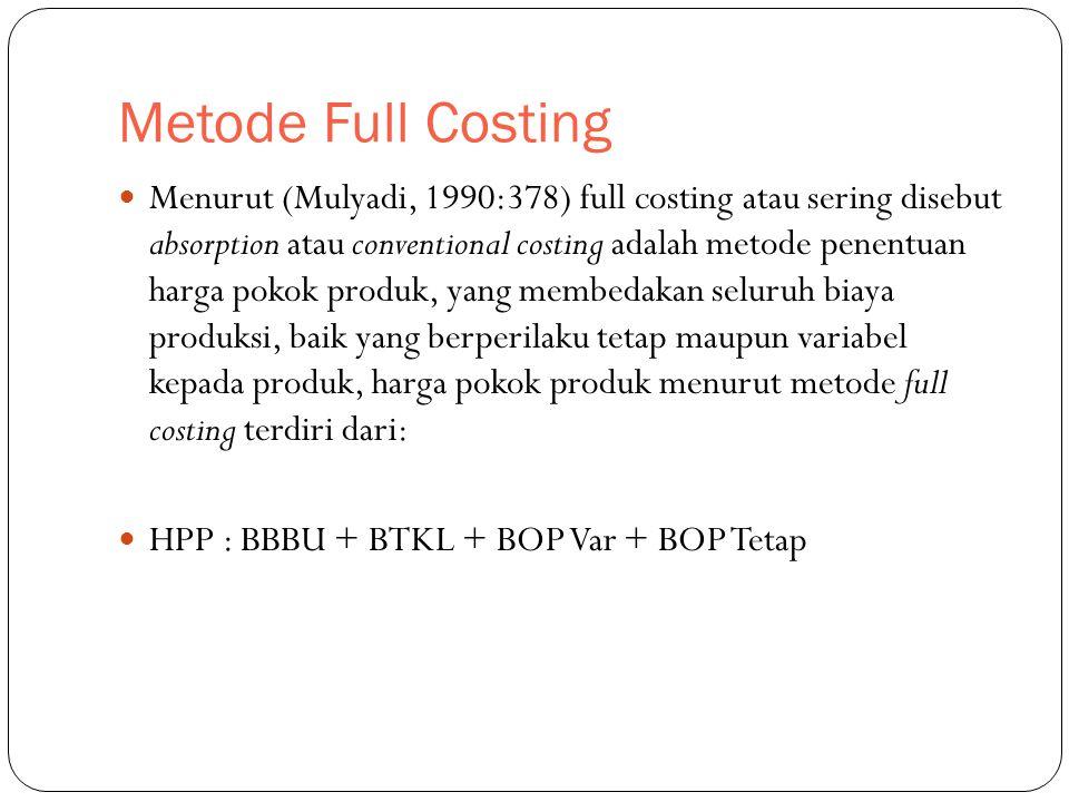 Metode Full Costing Menurut (Mulyadi, 1990:378) full costing atau sering disebut absorption atau conventional costing adalah metode penentuan harga pokok produk, yang membedakan seluruh biaya produksi, baik yang berperilaku tetap maupun variabel kepada produk, harga pokok produk menurut metode full costing terdiri dari: HPP : BBBU + BTKL + BOP Var + BOP Tetap