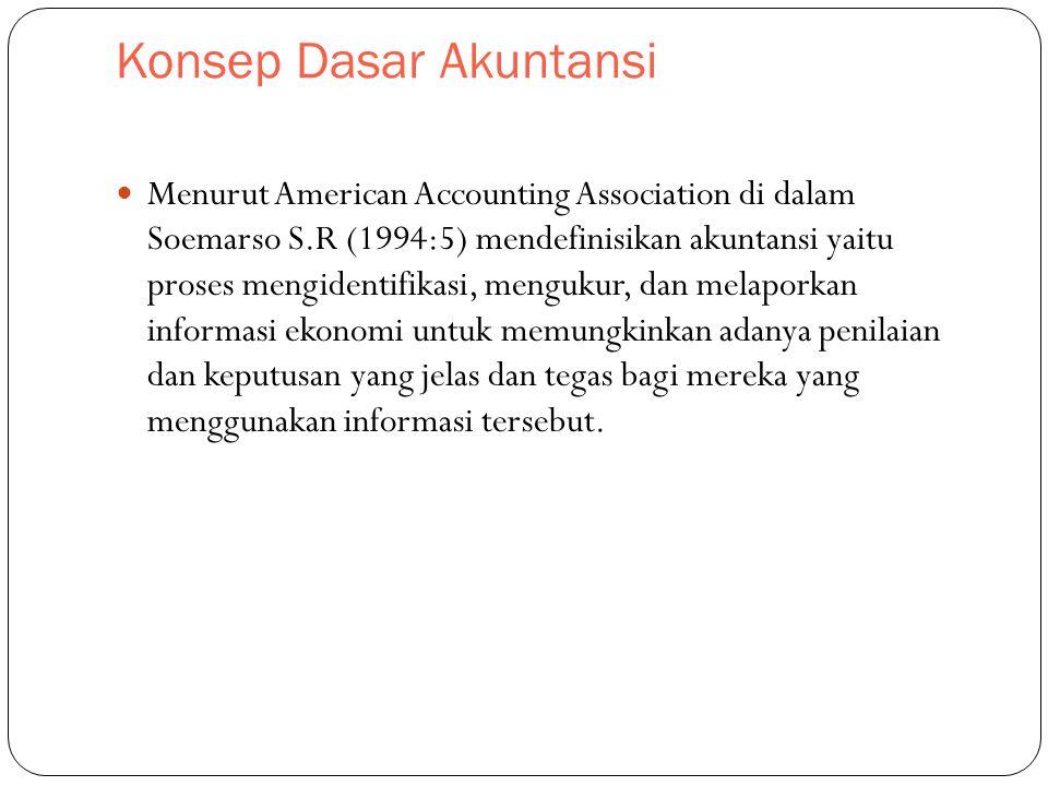 Konsep Dasar Akuntansi Menurut American Accounting Association di dalam Soemarso S.R (1994:5) mendefinisikan akuntansi yaitu proses mengidentifikasi, mengukur, dan melaporkan informasi ekonomi untuk memungkinkan adanya penilaian dan keputusan yang jelas dan tegas bagi mereka yang menggunakan informasi tersebut.