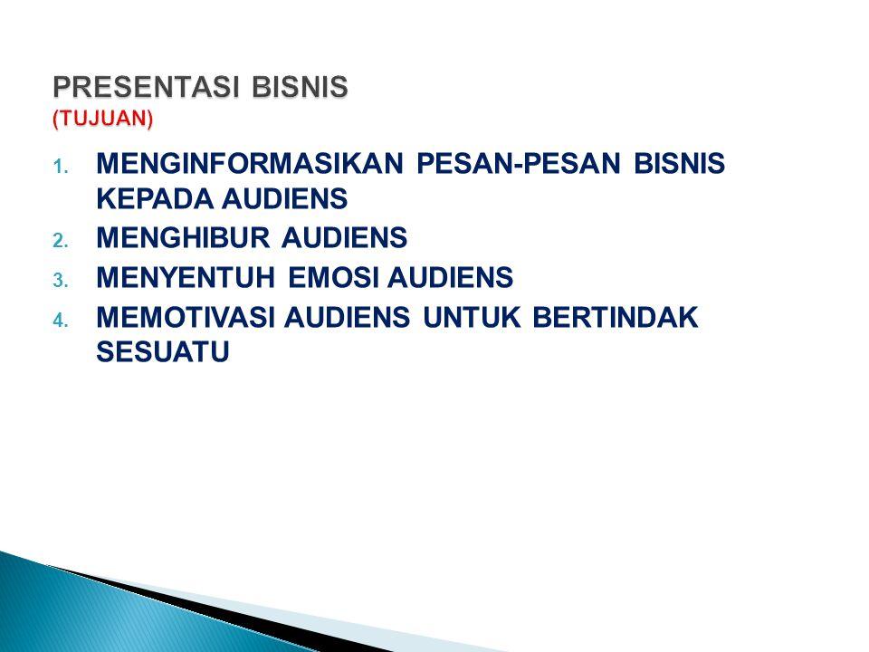1. MENGINFORMASIKAN PESAN-PESAN BISNIS KEPADA AUDIENS 2. MENGHIBUR AUDIENS 3. MENYENTUH EMOSI AUDIENS 4. MEMOTIVASI AUDIENS UNTUK BERTINDAK SESUATU