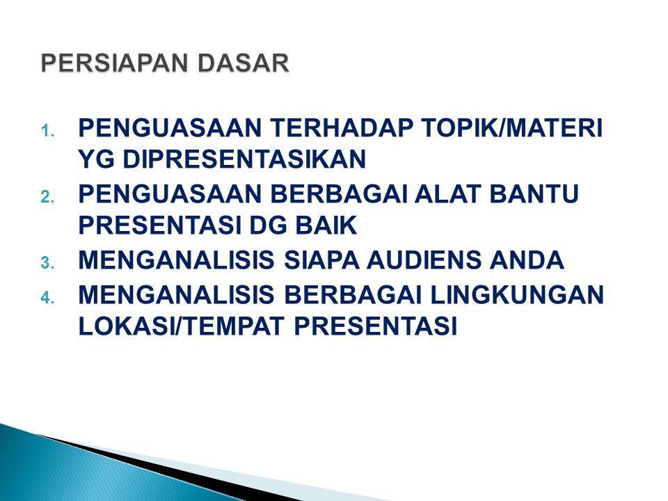 1. PENGUASAAN TERHADAP TOPIK/MATERI YG DIPRESENTASIKAN 2. PENGUASAAN BERBAGAI ALAT BANTU PRESENTASI DG BAIK 3. MENGANALISIS SIAPA AUDIENS ANDA 4. MENG