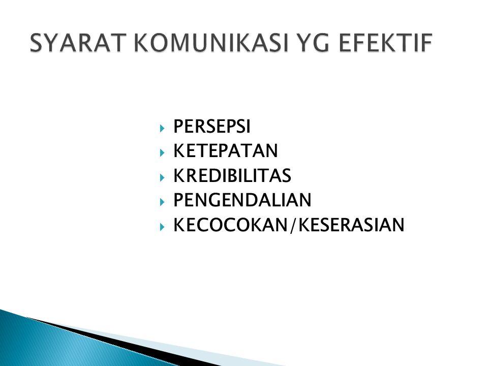  PERSEPSI  KETEPATAN  KREDIBILITAS  PENGENDALIAN  KECOCOKAN/KESERASIAN