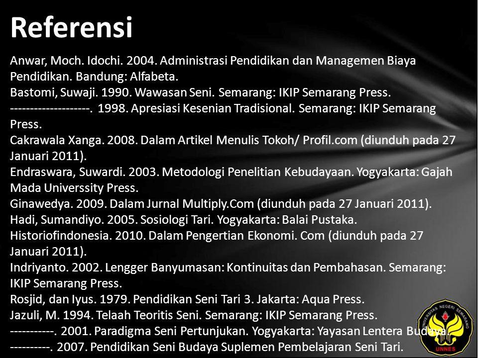Referensi Anwar, Moch. Idochi. 2004. Administrasi Pendidikan dan Managemen Biaya Pendidikan.