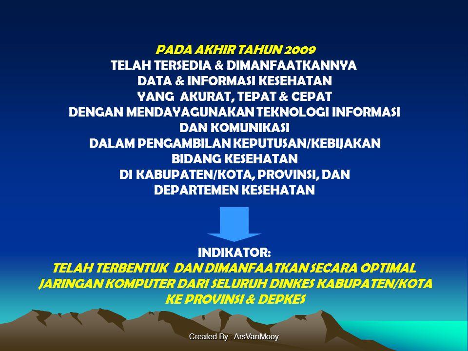 Created By : ArsVanMooy PADA AKHIR TAHUN 2009 TELAH TERSEDIA & DIMANFAATKANNYA DATA & INFORMASI KESEHATAN YANG AKURAT, TEPAT & CEPAT DENGAN MENDAYAGUN