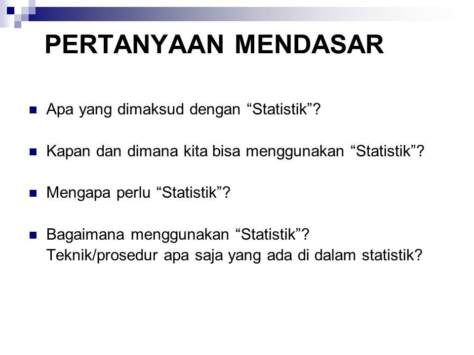 """PERTANYAAN MENDASAR Apa yang dimaksud dengan """"Statistik""""? Kapan dan dimana kita bisa menggunakan """"Statistik""""? Mengapa perlu """"Statistik""""? Bagaimana men"""