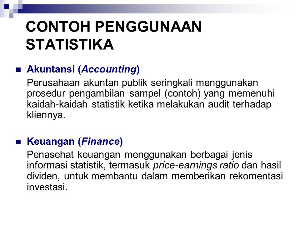 CONTOH PENGGUNAAN STATISTIKA Akuntansi (Accounting) Perusahaan akuntan publik seringkali menggunakan prosedur pengambilan sampel (contoh) yang memenuh