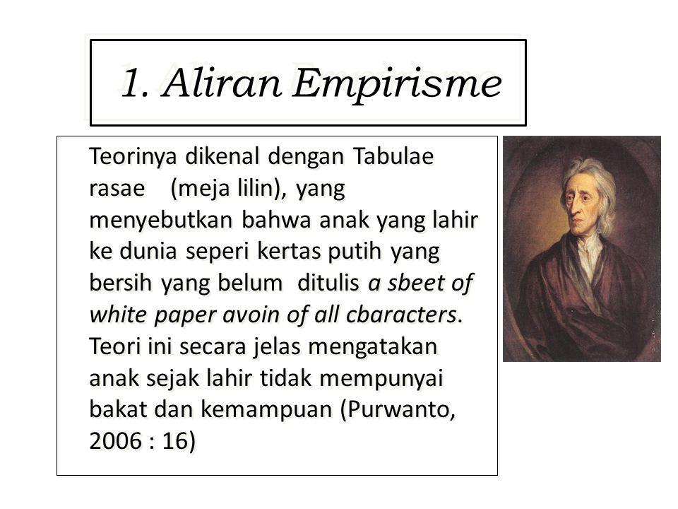 1. Aliran Empirisme Teorinya dikenal dengan Tabulae rasae (meja lilin), yang menyebutkan bahwa anak yang lahir ke dunia seperi kertas putih yang bersi