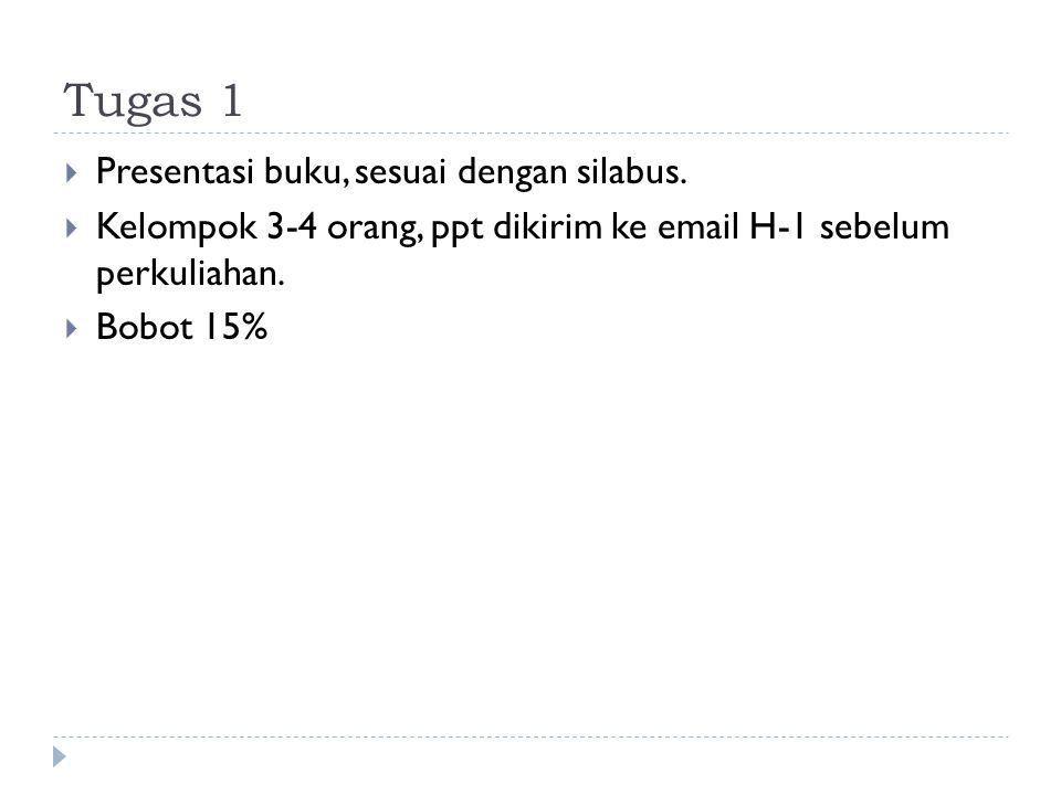 Tugas 1  Presentasi buku, sesuai dengan silabus.  Kelompok 3-4 orang, ppt dikirim ke email H-1 sebelum perkuliahan.  Bobot 15%