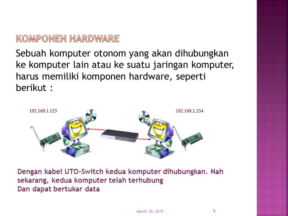 Komponen jaringan komputer dapat dibedakan menjadi 2 macam, yaitu komponen hardware dan komponen software.