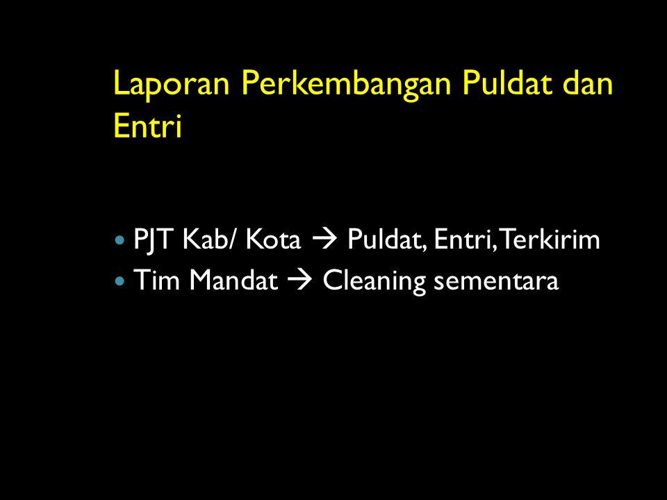 Laporan Perkembangan Puldat dan Entri PJT Kab/ Kota  Puldat, Entri, Terkirim Tim Mandat  Cleaning sementara