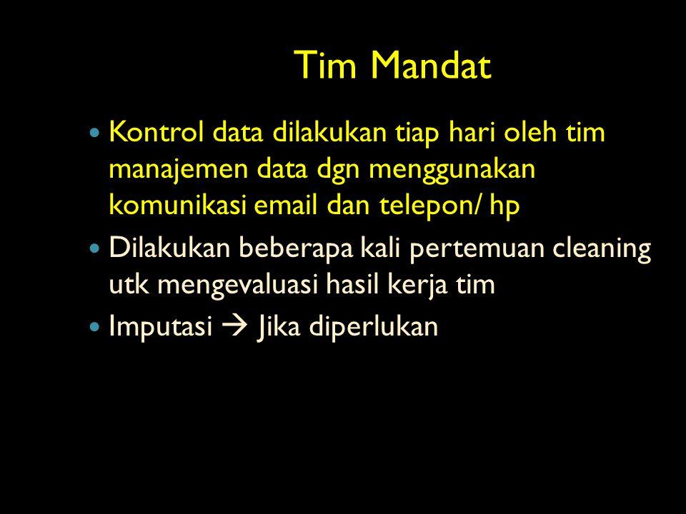 Tim Mandat Tim Mandat Kontrol data dilakukan tiap hari oleh tim manajemen data dgn menggunakan komunikasi email dan telepon/ hp Dilakukan beberapa kal