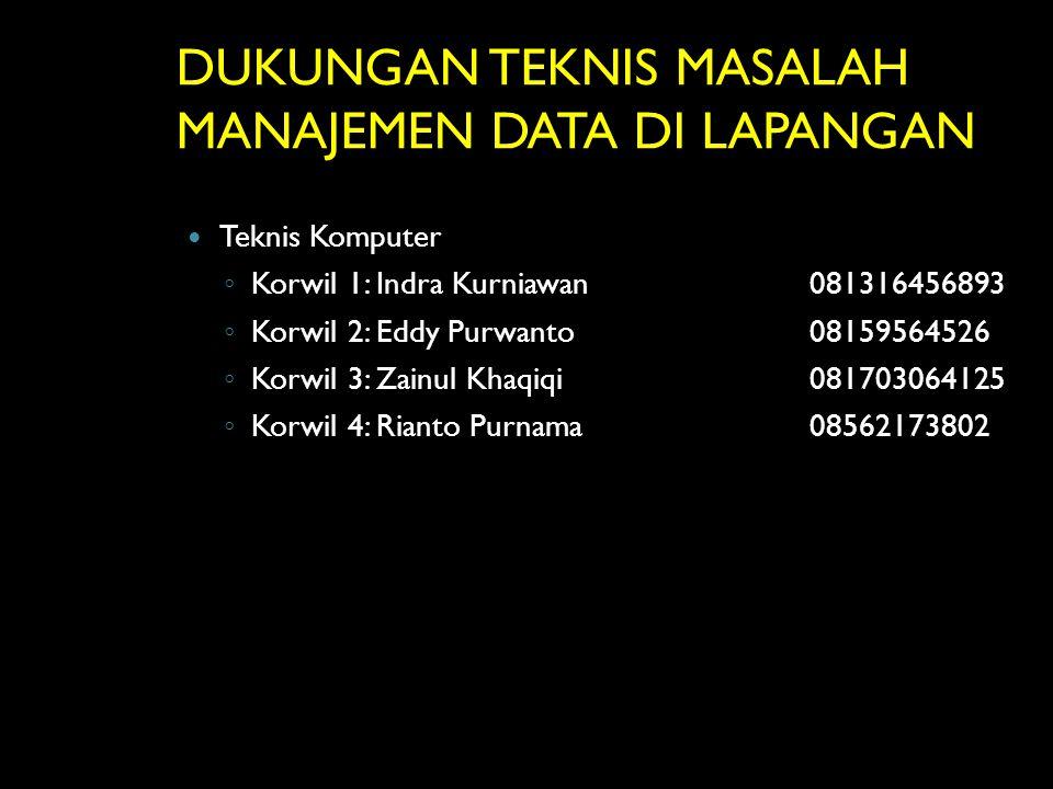 DUKUNGAN TEKNIS MASALAH MANAJEMEN DATA DI LAPANGAN Teknis Komputer ◦ Korwil 1: Indra Kurniawan081316456893 ◦ Korwil 2: Eddy Purwanto08159564526 ◦ Korw