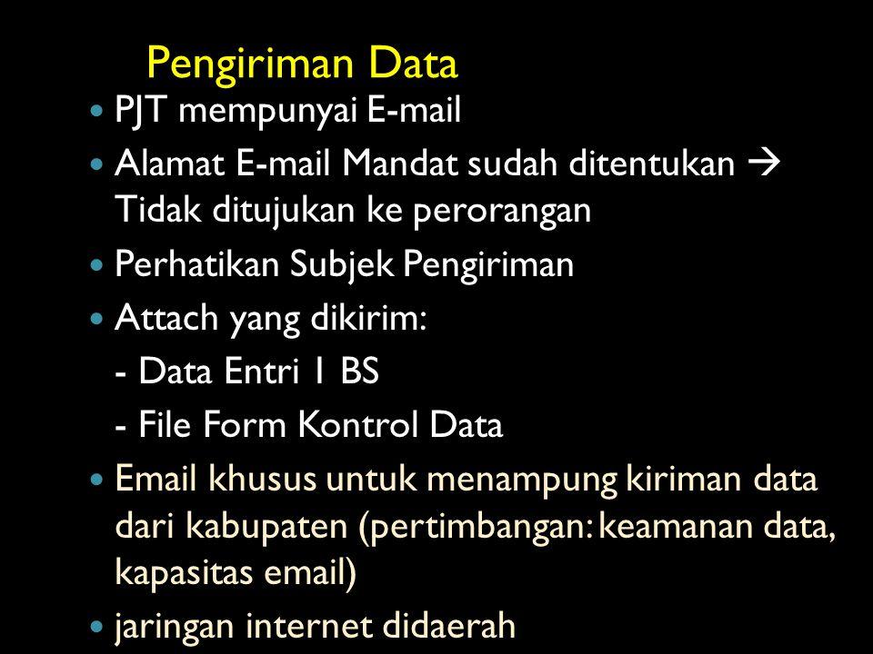 Pengiriman Data PJT mempunyai E-mail Alamat E-mail Mandat sudah ditentukan  Tidak ditujukan ke perorangan Perhatikan Subjek Pengiriman Attach yang di