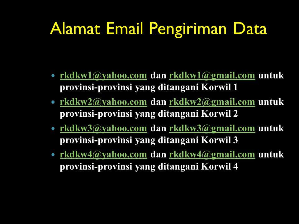 Alamat Email Pengiriman Data rkdkw1@yahoo.com dan rkdkw1@gmail.com untuk provinsi-provinsi yang ditangani Korwil 1 rkdkw1@yahoo.comrkdkw1@gmail.com rk