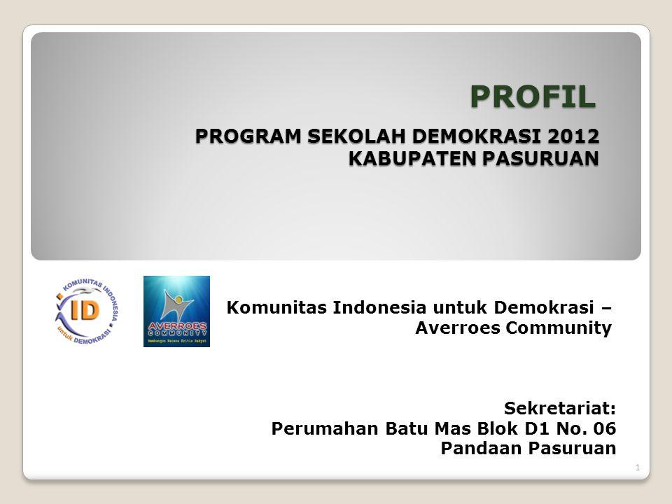 PROGRAM SEKOLAH DEMOKRASI 2012 KABUPATEN PASURUAN PROFIL Komunitas Indonesia untuk Demokrasi – Averroes Community Sekretariat: Perumahan Batu Mas Blok