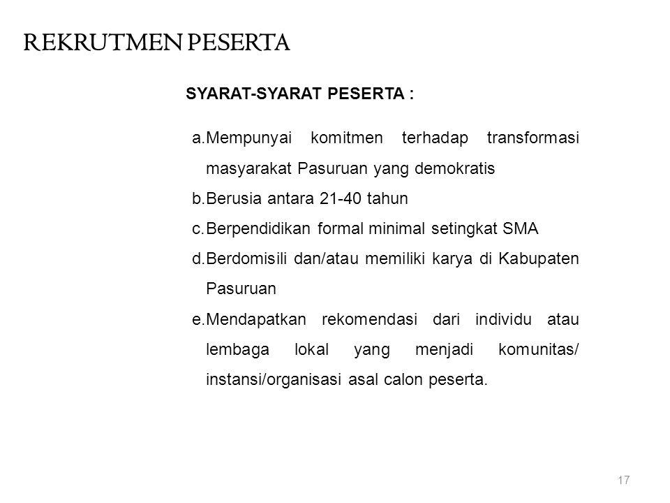 REKRUTMEN PESERTA 17 a.Mempunyai komitmen terhadap transformasi masyarakat Pasuruan yang demokratis b.Berusia antara 21-40 tahun c.Berpendidikan forma