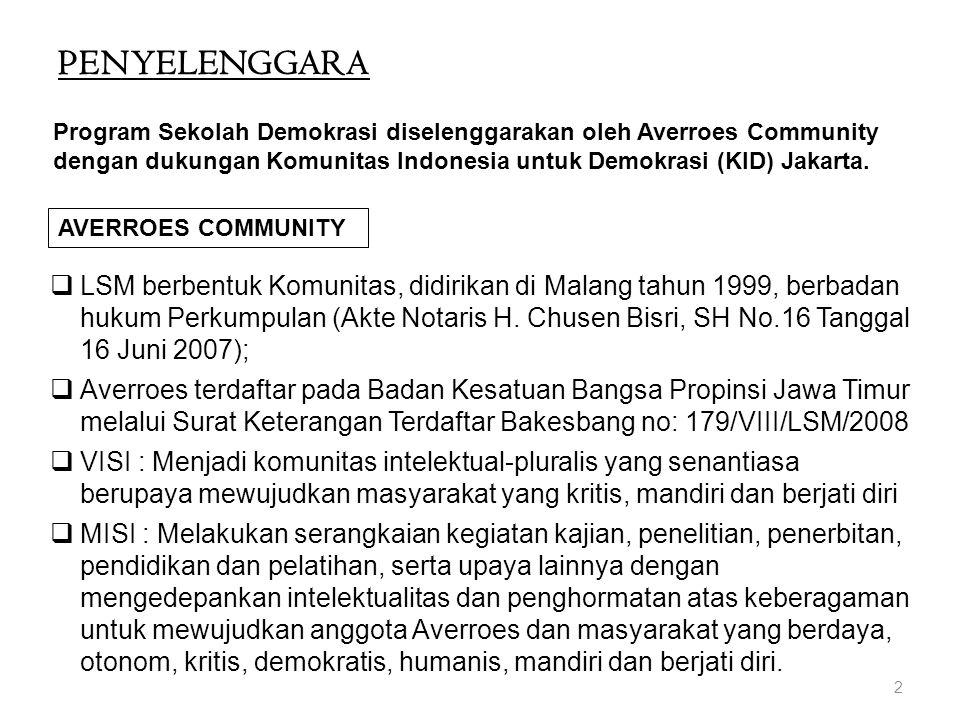PENYELENGGARA 2 AVERROES COMMUNITY  LSM berbentuk Komunitas, didirikan di Malang tahun 1999, berbadan hukum Perkumpulan (Akte Notaris H. Chusen Bisri
