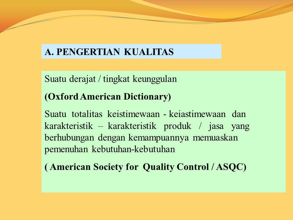 A. PENGERTIAN KUALITAS Suatu derajat / tingkat keunggulan (Oxford American Dictionary) Suatu totalitas keistimewaan - keiastimewaan dan karakteristik