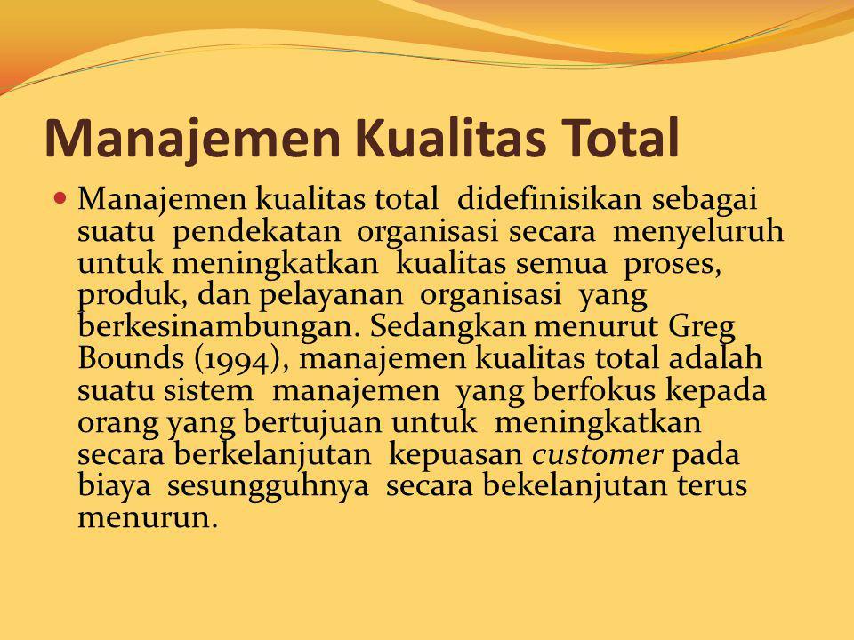 Manajemen Kualitas Total Manajemen kualitas total didefinisikan sebagai suatu pendekatan organisasi secara menyeluruh untuk meningkatkan kualitas semu