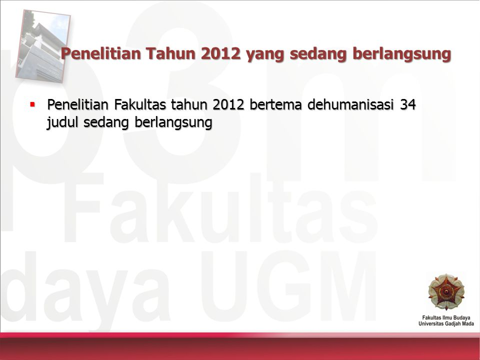 Penelitian Tahun 2012 yang sedang berlangsung  Penelitian Fakultas tahun 2012 bertema dehumanisasi 34 judul sedang berlangsung