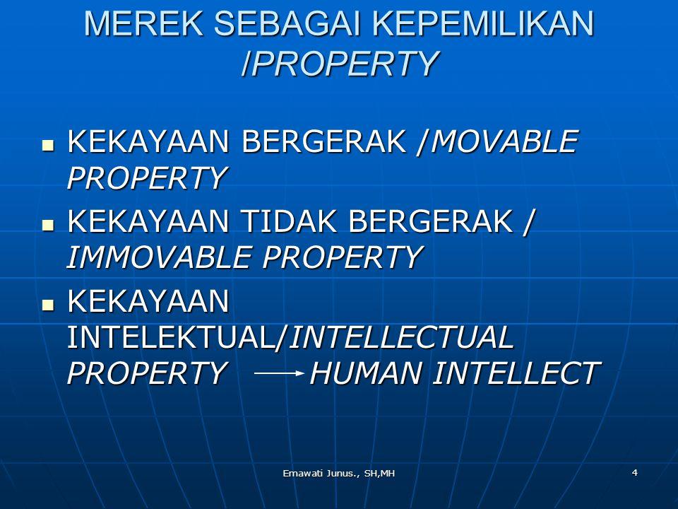 Emawati Junus., SH,MH 4 MEREK SEBAGAI KEPEMILIKAN /PROPERTY KEKAYAAN BERGERAK /MOVABLE PROPERTY KEKAYAAN BERGERAK /MOVABLE PROPERTY KEKAYAAN TIDAK BER
