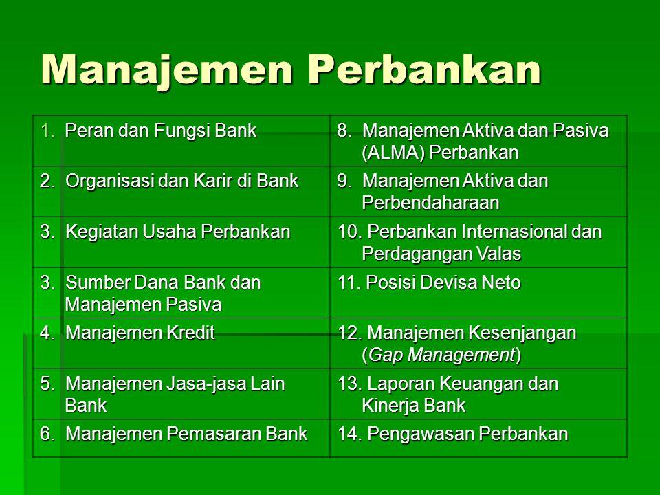 Manajemen Perbankan 1.Peran dan Fungsi Bank 8. Manajemen Aktiva dan Pasiva (ALMA) Perbankan 2. Organisasi dan Karir di Bank 9. Manajemen Aktiva dan Pe