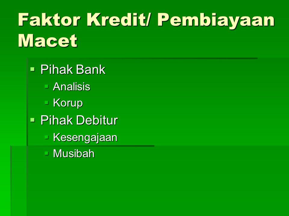 Faktor Kredit/ Pembiayaan Macet  Pihak Bank  Analisis  Korup  Pihak Debitur  Kesengajaan  Musibah