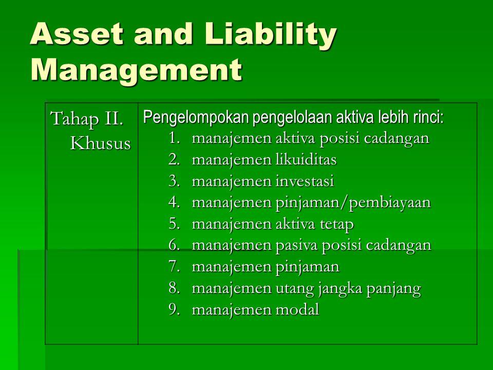 Tahap II. Khusus Pengelompokan pengelolaan aktiva lebih rinci: 1.manajemen aktiva posisi cadangan 2.manajemen likuiditas 3.manajemen investasi 4.manaj