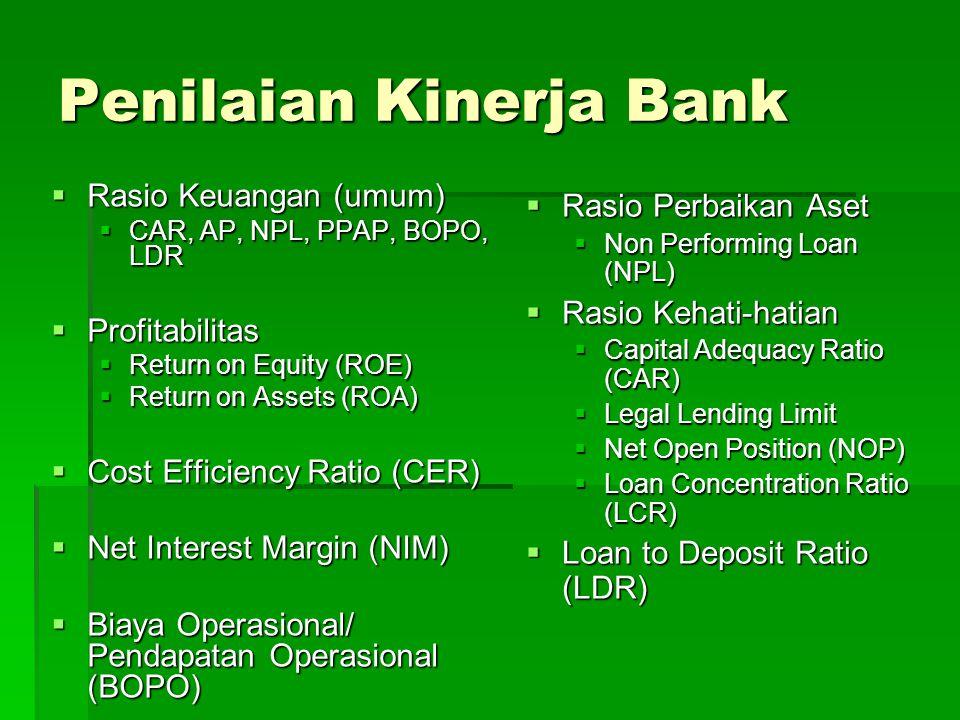 Penilaian Kinerja Bank  Rasio Keuangan (umum)  CAR, AP, NPL, PPAP, BOPO, LDR  Profitabilitas  Return on Equity (ROE)  Return on Assets (ROA)  Co