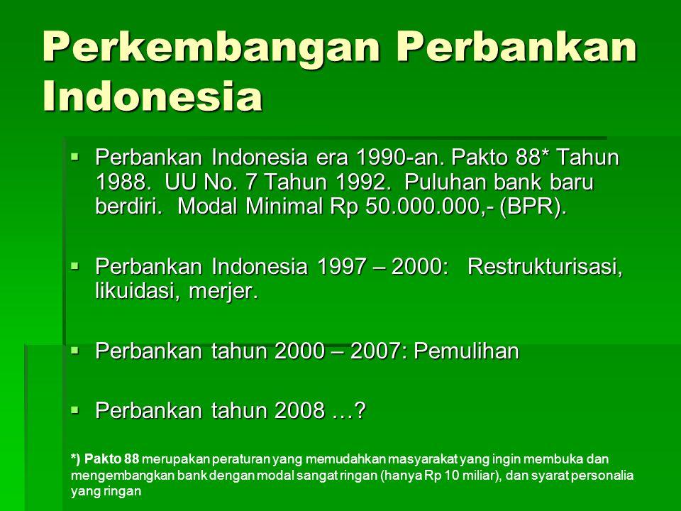 Perkembangan Perbankan Indonesia  Perbankan Indonesia era 1990-an. Pakto 88* Tahun 1988. UU No. 7 Tahun 1992. Puluhan bank baru berdiri. Modal Minima