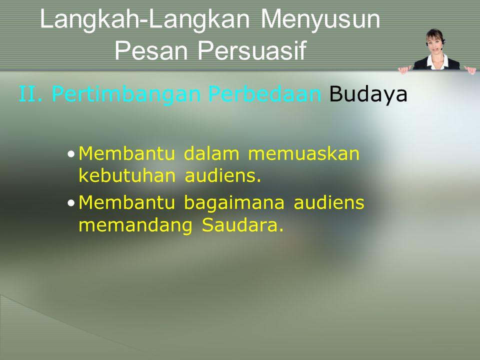 Langkah-Langkan Menyusun Pesan Persuasif I.Analisa Audiens Siapa audiensnya? Apa saja kebutuhan mereka? Bagaimana kredibilitas Saudara sebagai penyamp