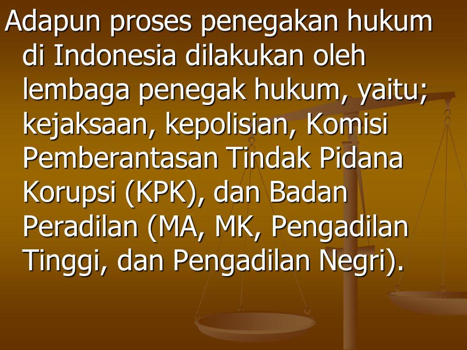 Adapun proses penegakan hukum di Indonesia dilakukan oleh lembaga penegak hukum, yaitu; kejaksaan, kepolisian, Komisi Pemberantasan Tindak Pidana Koru