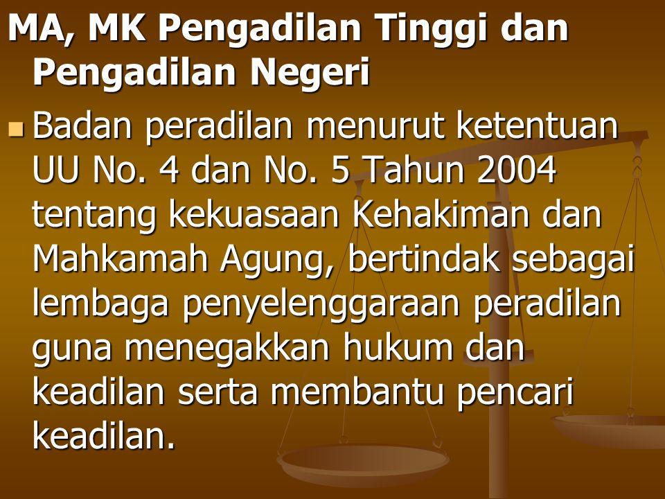 MA, MK Pengadilan Tinggi dan Pengadilan Negeri Badan peradilan menurut ketentuan UU No. 4 dan No. 5 Tahun 2004 tentang kekuasaan Kehakiman dan Mahkama