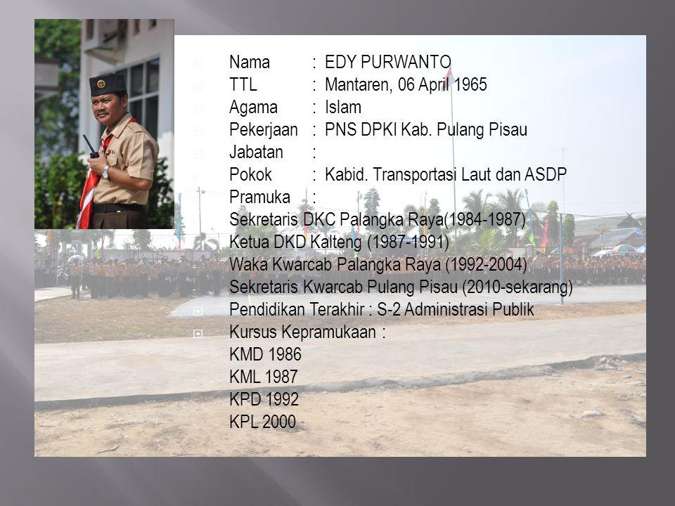  Nama : EDY PURWANTO  TTL : Mantaren, 06 April 1965  Agama : Islam  Pekerjaan: PNS DPKI Kab. Pulang Pisau  Jabatan : a. Pokok : Kabid. Transporta