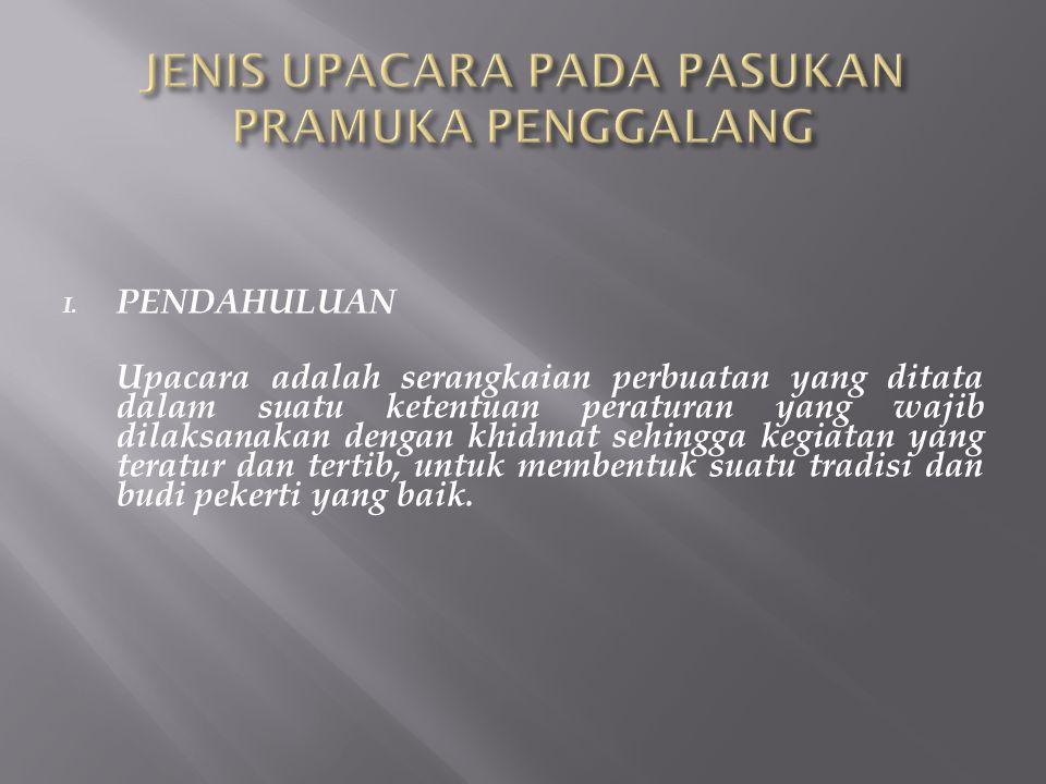 I.Up. Pembukaan dan Penutupan Latihan II. Up. Penerimaan Calon Anggota III.