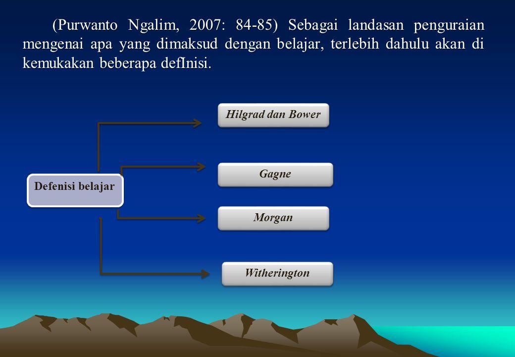 (Purwanto Ngalim, 2007: 84-85) Sebagai landasan penguraian mengenai apa yang dimaksud dengan belajar, terlebih dahulu akan di kemukakan beberapa defInisi.