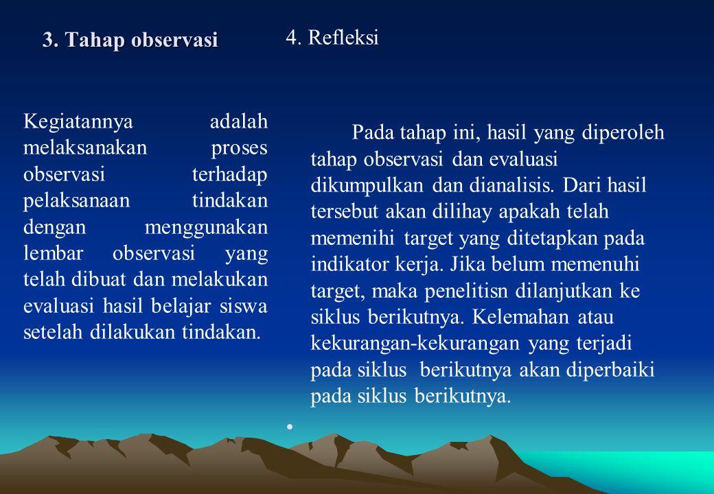 3. Tahap observasi 4. Refleksi Pada tahap ini, hasil yang diperoleh tahap observasi dan evaluasi dikumpulkan dan dianalisis. Dari hasil tersebut akan