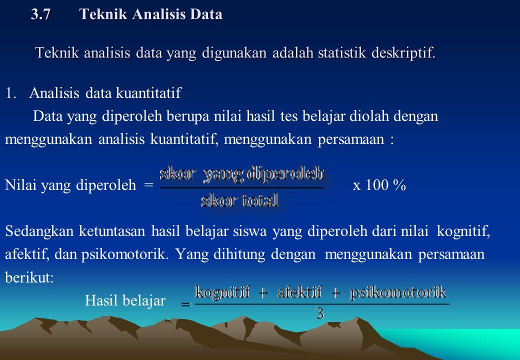 1.Analisis data kuantitatif Data yang diperoleh berupa nilai hasil tes belajar diolah dengan menggunakan analisis kuantitatif, menggunakan persamaan :