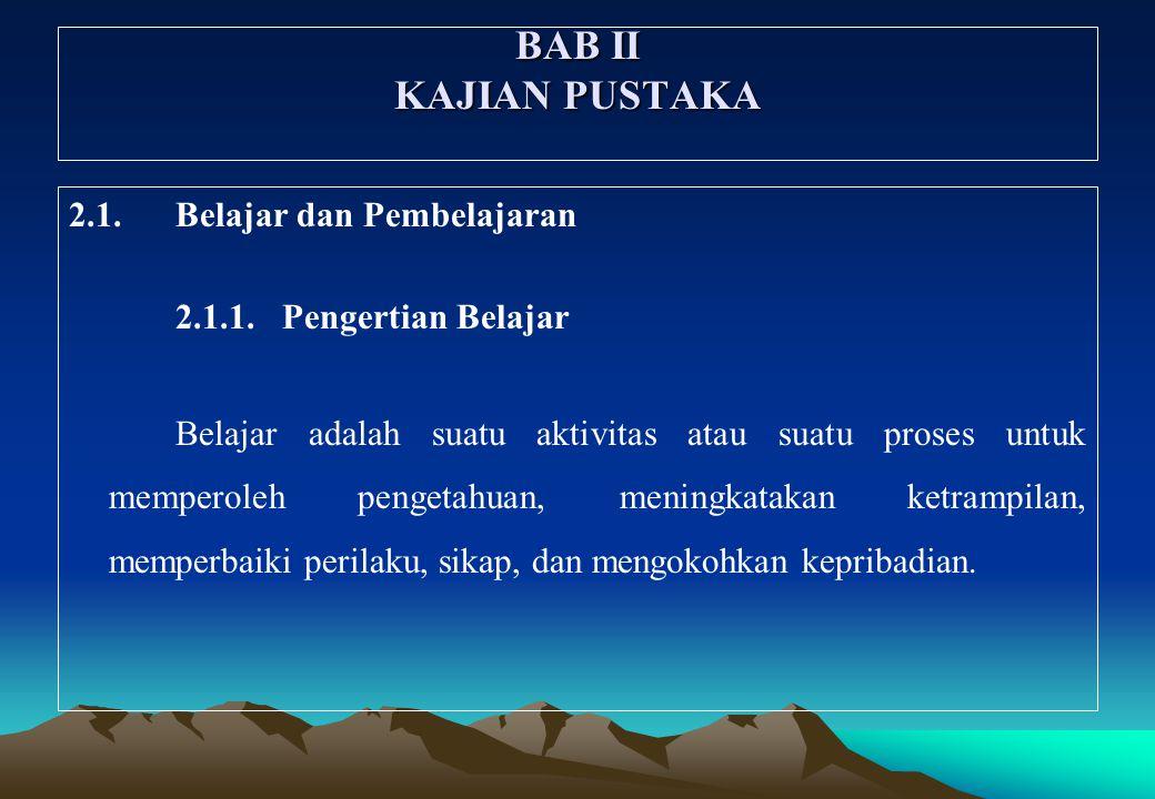 BAB II KAJIAN PUSTAKA 2.1.Belajar dan Pembelajaran 2.1.1.Pengertian Belajar Belajar adalah suatu aktivitas atau suatu proses untuk memperoleh pengetah