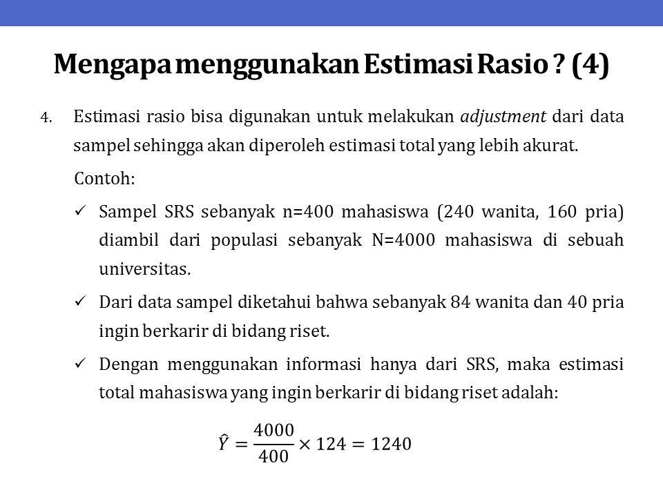 Mengapa menggunakan Estimasi Rasio ? (4)
