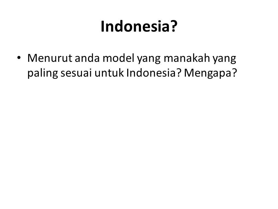 Indonesia? Menurut anda model yang manakah yang paling sesuai untuk Indonesia? Mengapa?