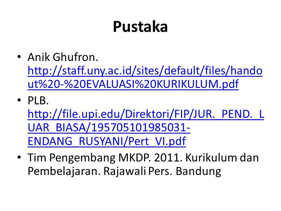 Pustaka Anik Ghufron. http://staff.uny.ac.id/sites/default/files/hando ut%20-%20EVALUASI%20KURIKULUM.pdf http://staff.uny.ac.id/sites/default/files/ha